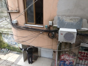 Electricity wiring in an apartment block in central Tirana