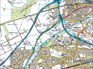 The Barton Moss Exploratory Well was situated where the arrow is pointing on the map. Source: Open Street Map.org